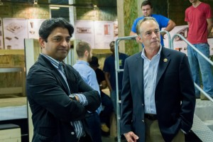 Congressman Chris Collins (U.S. House of Representatives, NY 27th District) and Omar Khan (Architecture Department Chair) at a fundraising salon at the warehouse